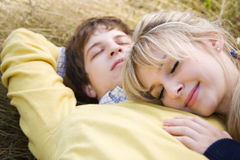Relaxing caucasian couple in love Stock Photography
