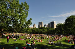 Lots of people relaxing in Central Park Stock Image