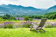 Relaxing chair facing the lavender fields. In a cloudy day royalty free stock images