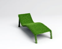 Relaxing chair grass overview. A relaxing chair in grass textured in 3d vector illustration