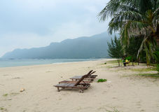 Relaxing chairs on beach in Nha Trang, Vietnam royalty free stock photo
