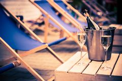 Relaxing with Champagne royalty free stock photography