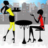 Relaxing city ladies. Illustration showing two ladies in silhouette relaxing Royalty Free Stock Photo