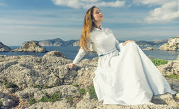 relaxing on a coast of mallorca stock image