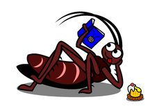 Relaxing cockroach. A relaxing cockroach reading a comic book royalty free illustration