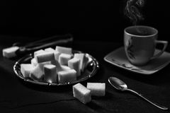 Relaxing coffee. In black and white Royalty Free Stock Images