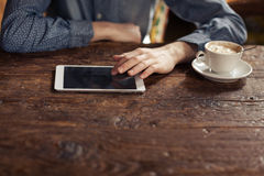 Relaxing coffee break with tablet Stock Images