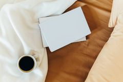 Relaxing With Coffee Cup And Good Books In Bed Stock Images