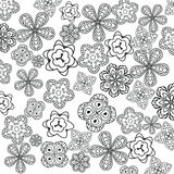 Relaxing coloring page with flowers for kids and adults, art therapy, meditation coloring book Stock Photography