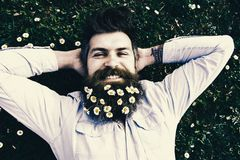 Relaxing concept. Hipster on happy face lays on grass, top view. Man with beard and mustache enjoys spring, green meadow. Background. Guy looks nicely with stock image