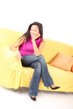 Relaxing on a couch royalty free stock photos