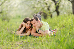 Relaxing Couple in Garden Stock Photography