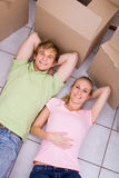 Relaxing couple in home Royalty Free Stock Image
