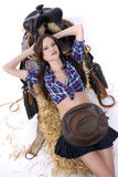 Relaxing Cowgirl Haybale Saddle Female stock photography