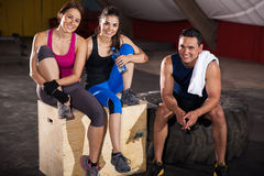 Relaxing at a cross-training gym Stock Image