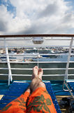 Relaxing on a cruise ship Stock Photo