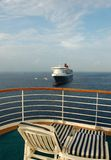 Relaxing cruise vacation. Beautiful view from cruise suite balcony Stock Image