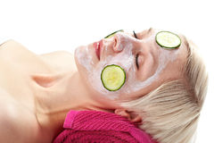 Relaxing cucumber face masque Stock Photo
