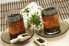 Relaxing cup of fruit tea stock photo