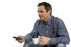 Relaxing from cup man Royalty Free Stock Photos