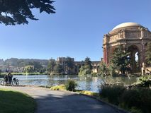 Relaxing day at the Palace of Fine Arts stock photography
