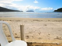 View of the beach, sand, sea and sky. Relaxing day with view of the beach, sand, sea and sky Stock Images
