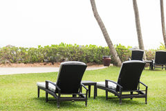 Relaxing deck chairs at tropical resort with nobody. Relaxing deck chairs at tropical resort with lush grass with nobody Royalty Free Stock Photos