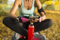 Relaxing after exercise stock images