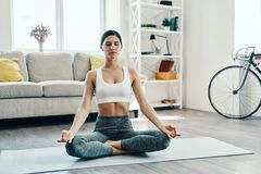 Relaxing exercise. Beautiful young woman in sports clothing practicing yoga while spending time at home royalty free stock images