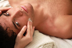 Relaxing  with eyes open Stock Photos