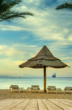 Relaxing facilities at the central beach of Eilat Royalty Free Stock Photos