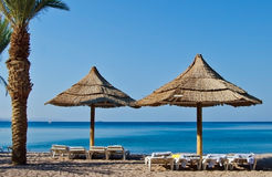 Relaxing facilities at central beach of Eilat, Israel Stock Images