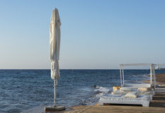 Relaxing facilities at coral beach near Eilat Royalty Free Stock Photography