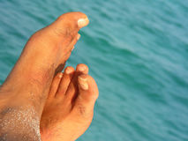 Relaxing Feet. A pair of relaxing feet at the beach Royalty Free Stock Photography