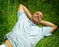Relaxing in the field stock images