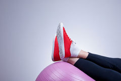 Relaxing with fitness ball Stock Image