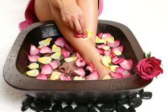 Relaxing Foot spa stock images