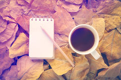 Relaxing in the forrest with coffee. Cup of coffee and notebook on dry leaves vintage color tone Royalty Free Stock Image