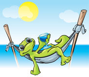 Relaxing Frog Illustration Royalty Free Stock Image
