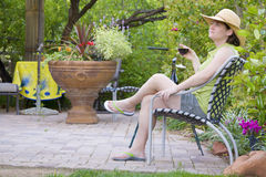 Relaxing in the garden stock photography