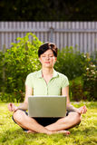 Relaxing in the garden on the grass Stock Photography
