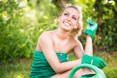 Relaxing after gardening Stock Image