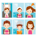 Relaxing girl in hair salon set Royalty Free Stock Images