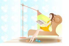 Relaxing girl by reading Royalty Free Stock Photography