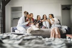 Relaxing Girls Night In stock photography