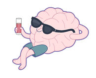 Relaxing with a glass of juice, Brain collection Stock Image