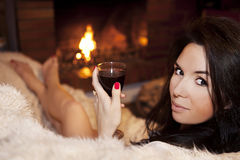 Relaxing with the glass of wine Stock Photos