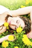 Relaxing in the grass and flowers Stock Image