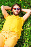 Relaxing on grass Stock Photos