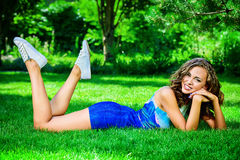 Relaxing on grass Stock Images